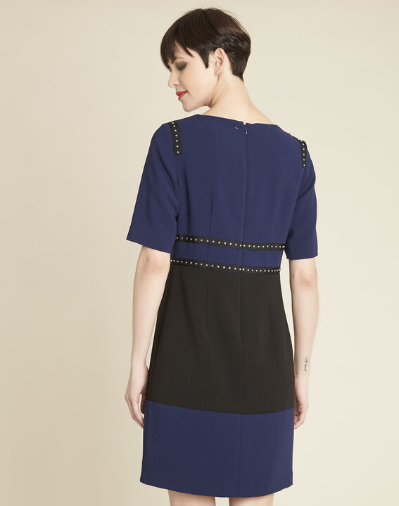 Doris two-tone navy dress with studded detailing (4) - Maison 123