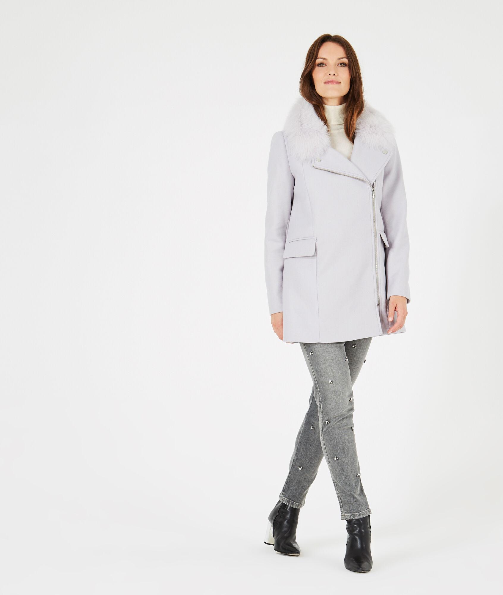 Manteau laine gris perle