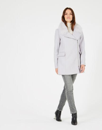 Manteau gris perle en laine mélangée col fourrure Oryanne (1) - 1-2-3