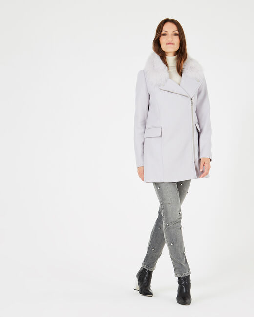 Oryanne pearly grey wool-blend coat with fur collar (2) - 1-2-3