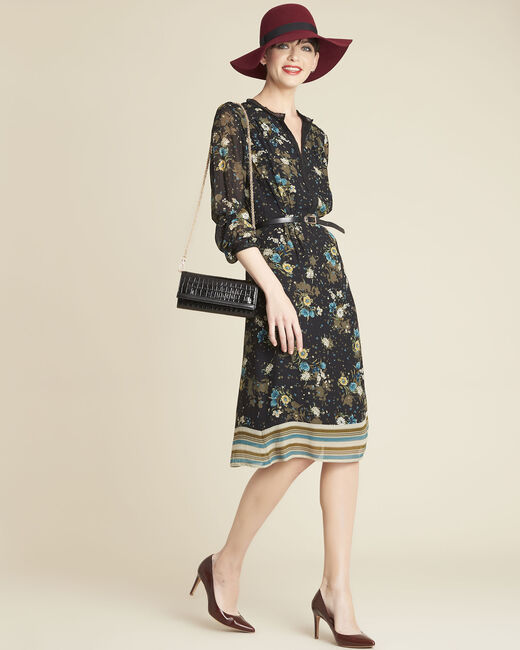 Dolores black dress with floral print (1) - 1-2-3