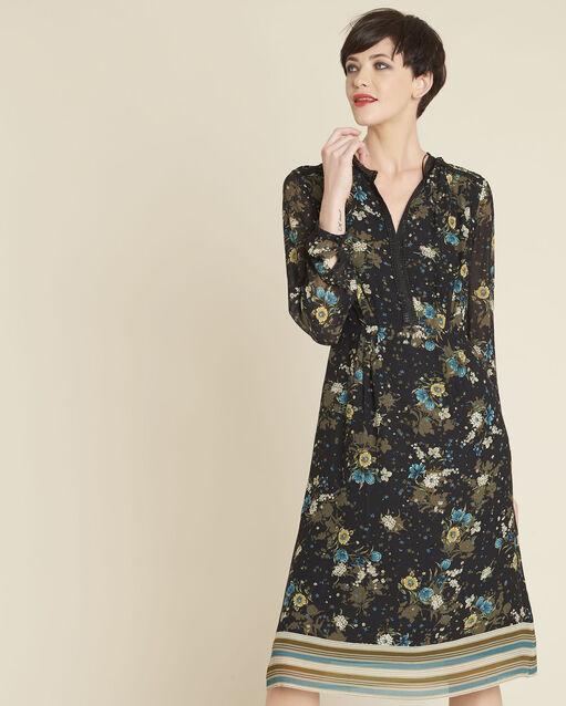 Robe noire imprimé fleuri Dolores (1) - 1-2-3
