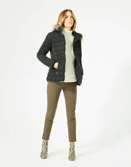 Rosie short black puffer jacket with a hood  (2) - 1-2-3