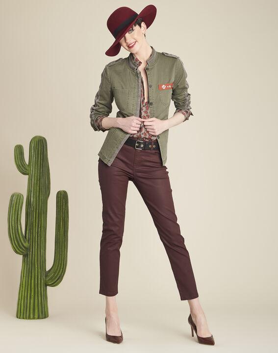 Khakifarbene Army-Jacke mit Stickerei Saphir (2) - 1-2-3