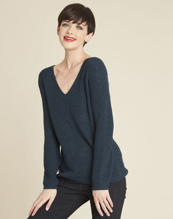 Bonita emerald green fine-knit sweater with v-neck emerald.
