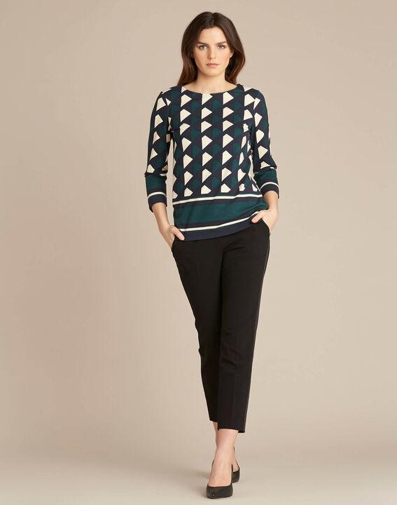 Bosgroene blouse met grafische print Evita (2) - 37653