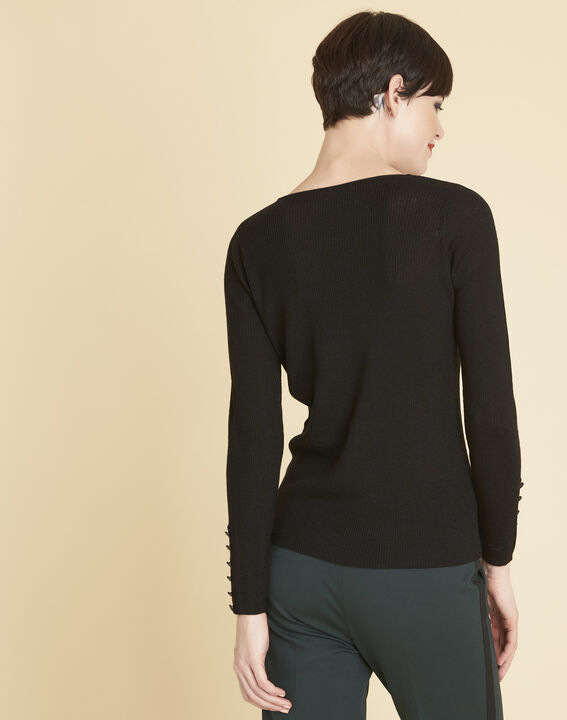 Bassus fine-knit black sweater with buttoned sleeves (4) - 1-2-3