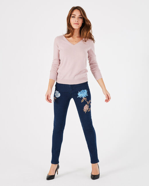 Pivoine pink V-neck sweater in cashmere (2) - 1-2-3