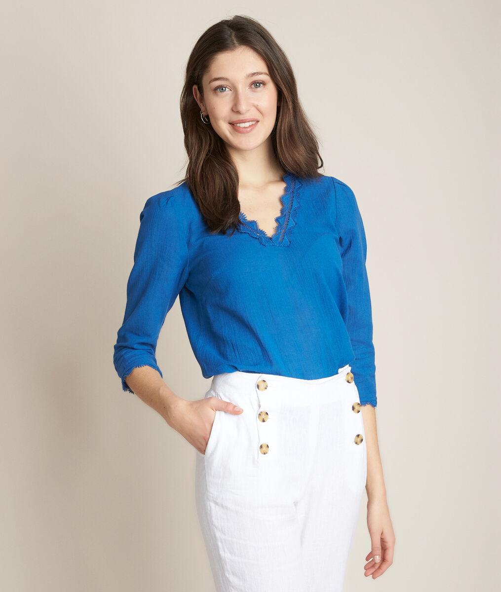 Blouse brodée bleue eloise - 123 - Modalova