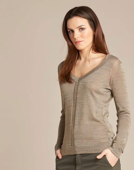 Khakifarbener glänzender Pullover mit Ajour-Streifen Noisetier (3) - 1-2-3