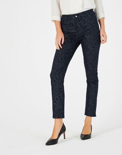 Marineblaue beschichtete 7/8-Jeans mit Brokat-Print Oliver (1) - 1-2-3