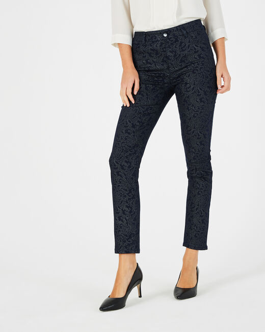 Oliver 7/8th length navy blue coated jeans with print (1) - 1-2-3