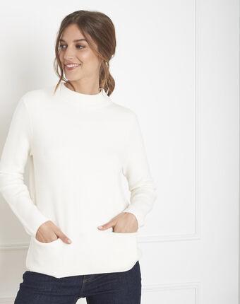 Belize fine-knit ecru sweater with high collar ecru.