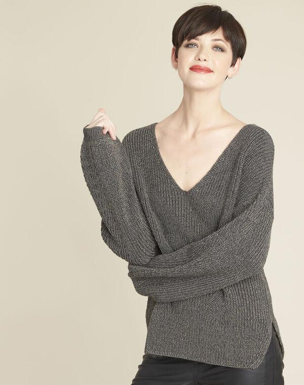 Kaki trui met V-hals van tricot Blanche (1) - 37653