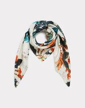 Evasion silk printed scarf dark green.