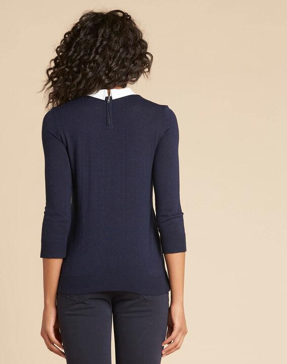 Marineblaues T-Shirt mit Hemdkragen und Perlendetails Noe (4) - 1-2-3