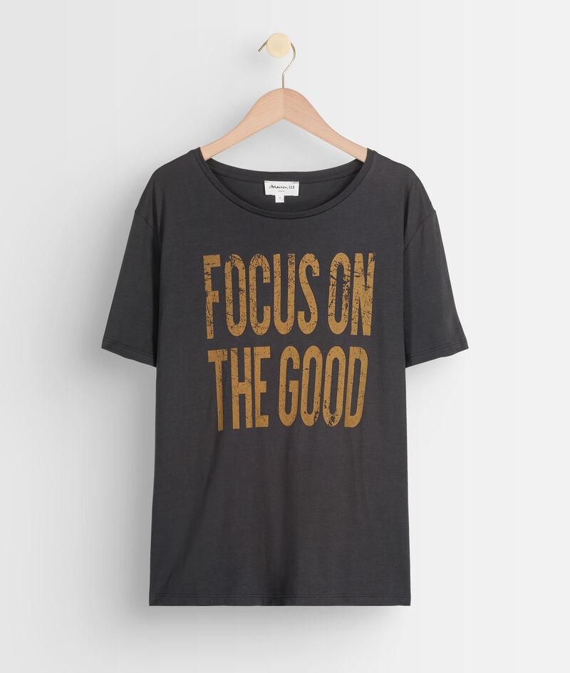 Tee-shirt en coton oversized à message anthracite Eddy PhotoZ | 1-2-3