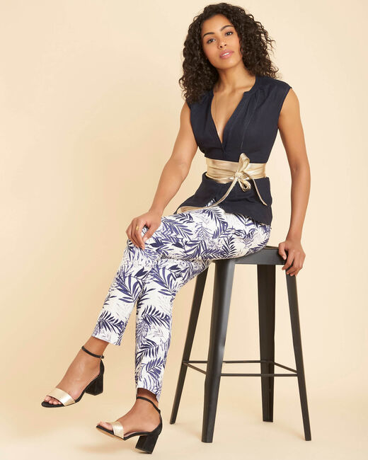 Jill tapered navy blue palm printed linen trousers (1) - 1-2-3