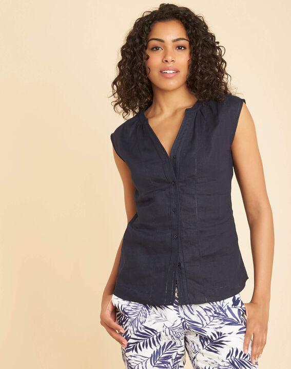 Gina navy blue linen top with Mandarin openwork collar (3) - 1-2-3