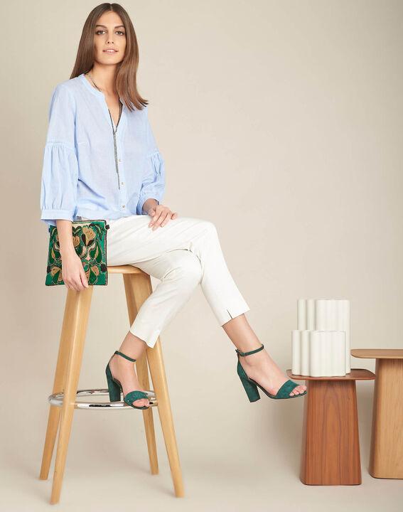 Hemelsblauwe, katoenen blouse met ballonmouwen Gasteria (2) - 37653