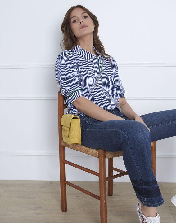 Blauwe blouse met fijne strepen Darwin (1) - Maison 123