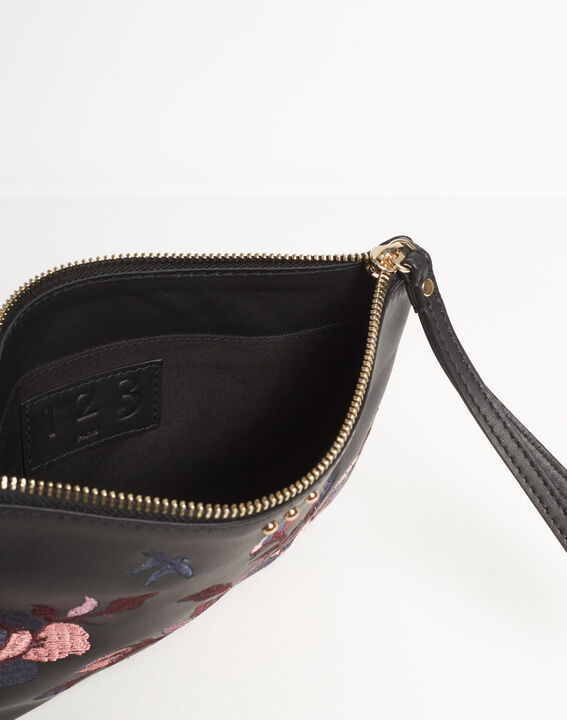 Delly embroidered clutch with black leather straps (5) - 1-2-3