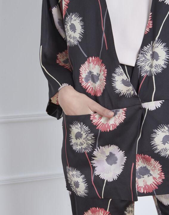 Schwarzer Kimono mit Blumenmuster in Satin-Optik Flore (3) - Maison 123