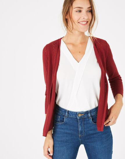 Palissade burgundy cardigan in an openwork knit (3) - 1-2-3