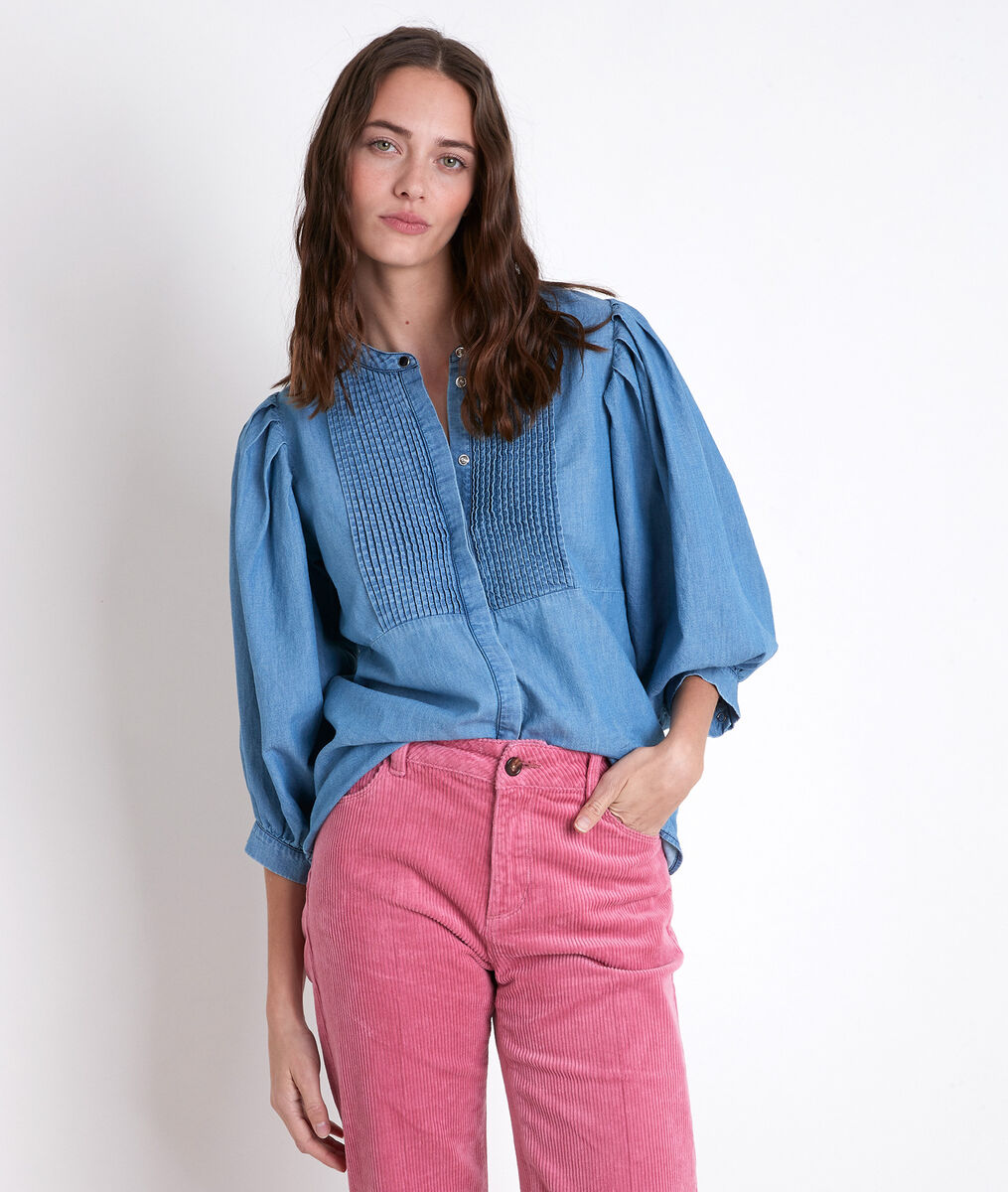 Blouse plissée en denim Tarika PhotoZ | 1-2-3