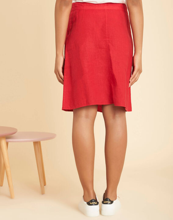Lumio red linen skirt with tie (4) - 1-2-3