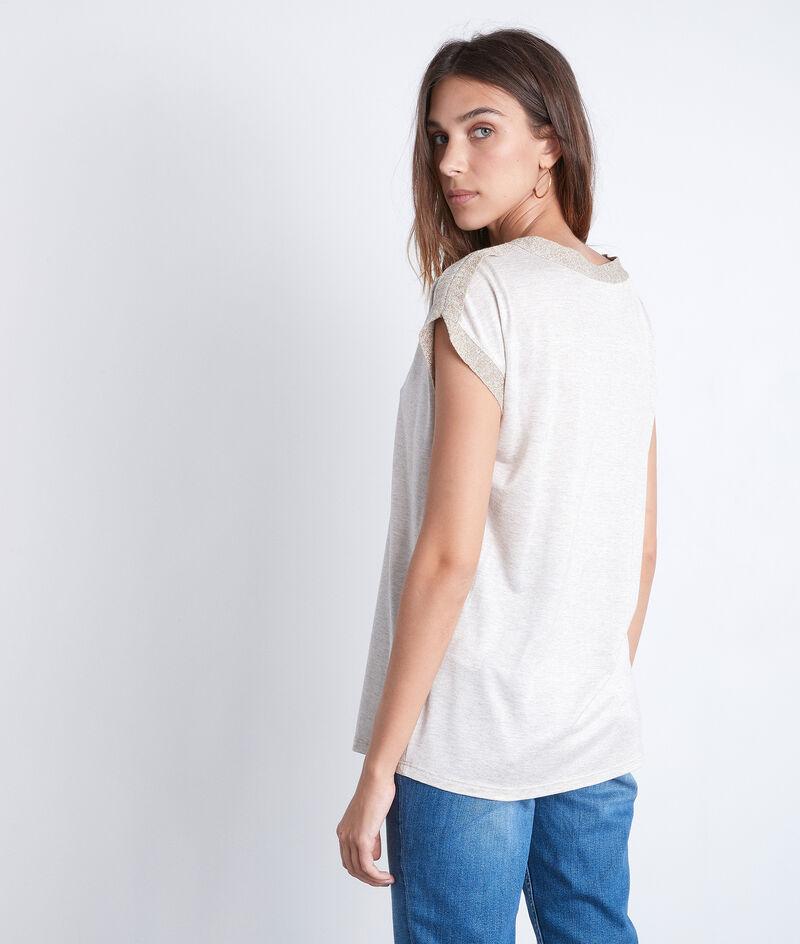 Tee-shirt col V à détails lurex beige Irene PhotoZ   1-2-3