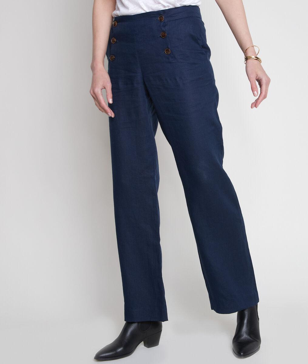 Pantalon à ponts en lin certifié Iber PhotoZ | 1-2-3
