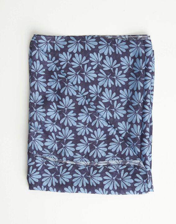 Foulard imprimé fleurs bleu Annick PhotoZ | 1-2-3
