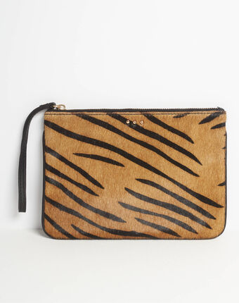 Droopy zebra print clutch with leather straps beige.