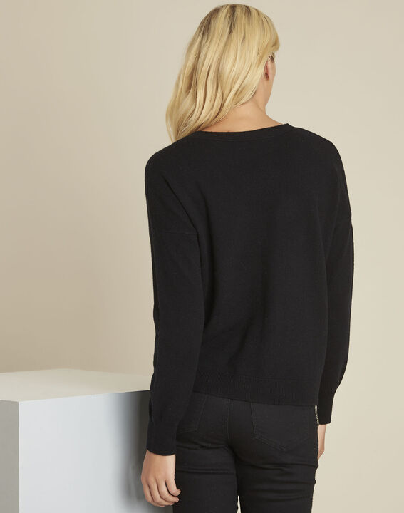 Baltic black wool cashmere pullover with faux leather pocket (4) - Maison 123