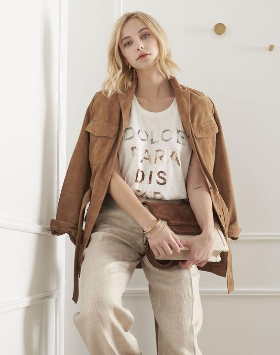 Tee-shirt écru imprimé message Petra PhotoZ   1-2-3