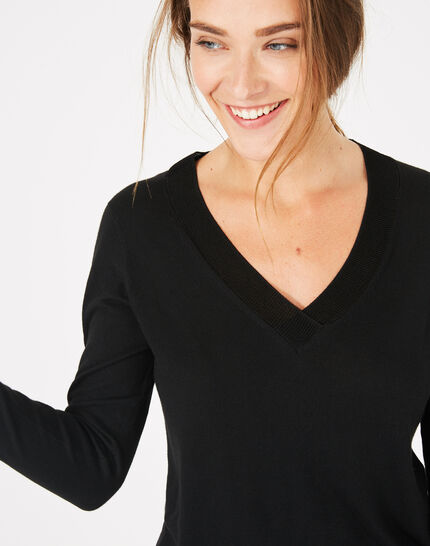 Schwarzer Pullover mit V-Ausschnitt Pépite (2) - 1-2-3