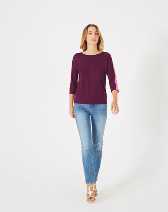 Bico blackcurrant t-shirt with stylish sleeves eggplant.