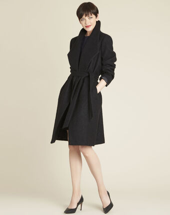Eliane black boiled wool coat with shawl collar black.