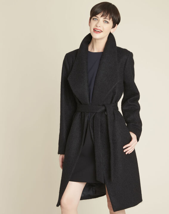 Eliane black boiled wool coat with shawl collar (1) - Maison 123