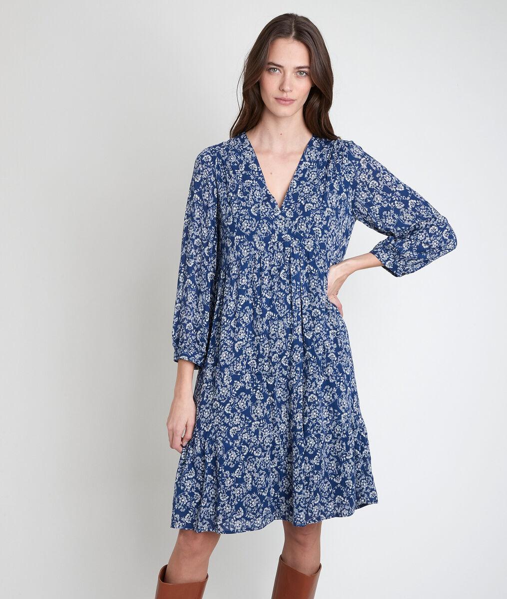 Robe marine imprimé fleuri Lou  PhotoZ | 1-2-3