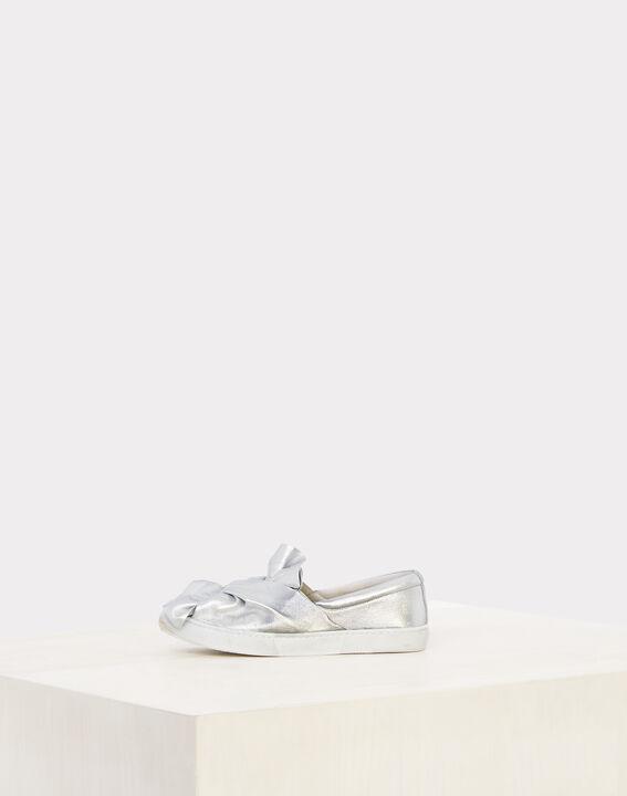Silberne Sneakers mit Schleife Natanael (4) - 1-2-3