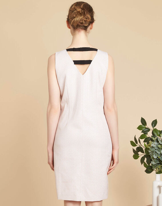 Idalie pale pink Jacquard dress with decorative back (4) - 1-2-3