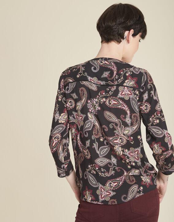 Zwarte blouse met kasjmierprint Arletty (4) - 37653