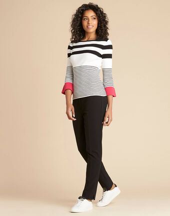 Pins pink wide-striped sweater black/white.