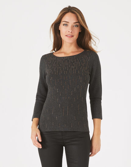 Pluie charcoal sweater with diamanté detailing and rounded neckline (3) - 1-2-3
