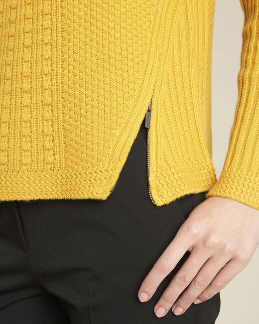 Pull jaune col montant laine mélangée Brindille (2) - 1-2-3