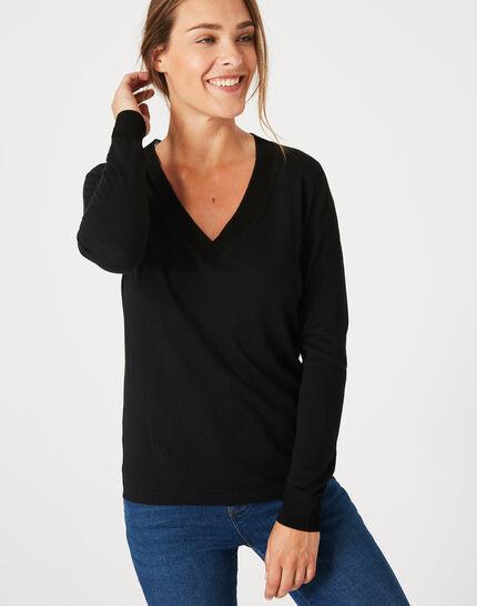 Schwarzer Pullover mit V-Ausschnitt Pépite (3) - 1-2-3