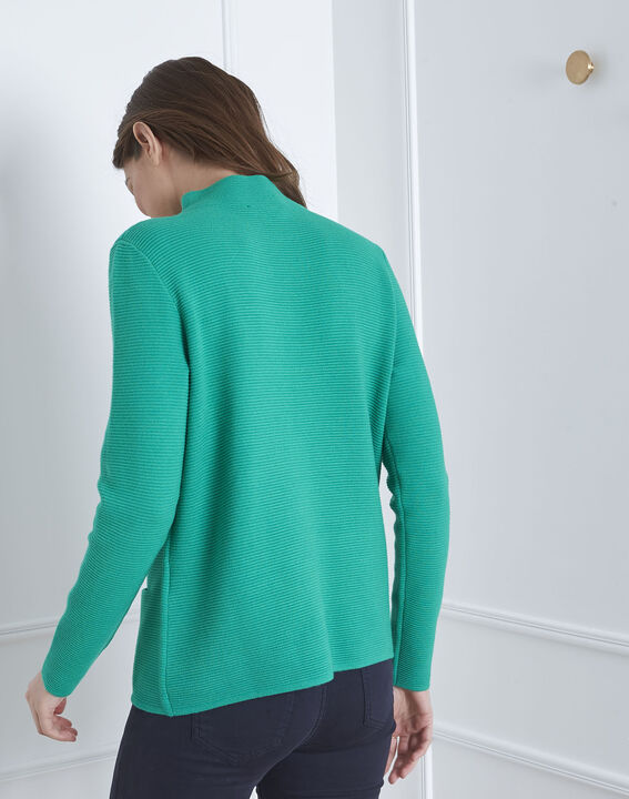 Pull vert maille fine col montant Belize (4) - Maison 123