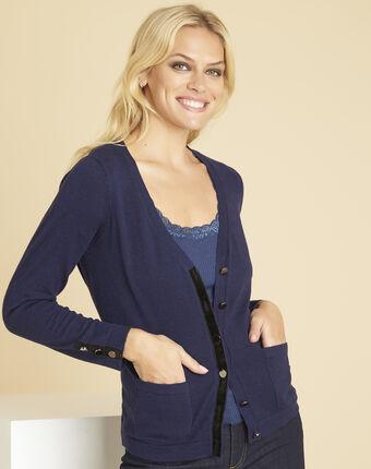 Bettina navy blue cardigan with velour grosgrain detailing royal blue.